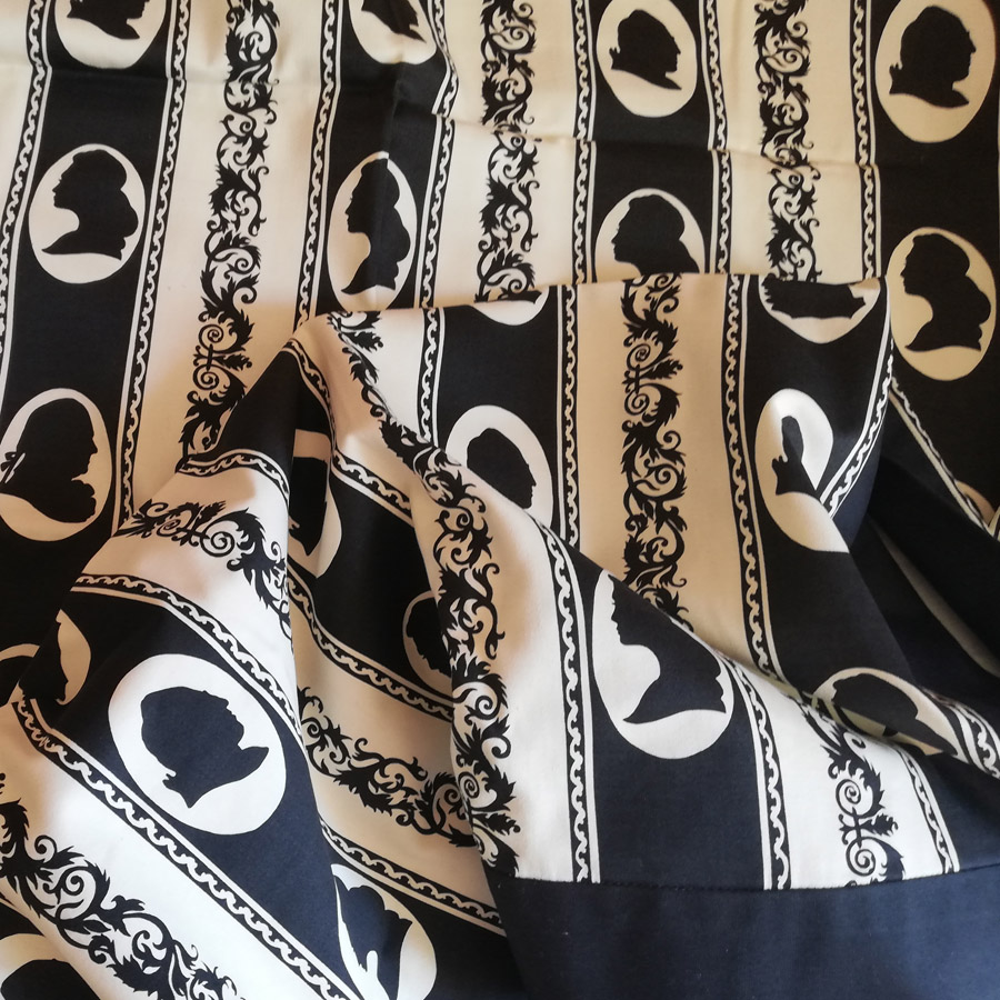 alexandra prints centenium black and cream furnishing fabric