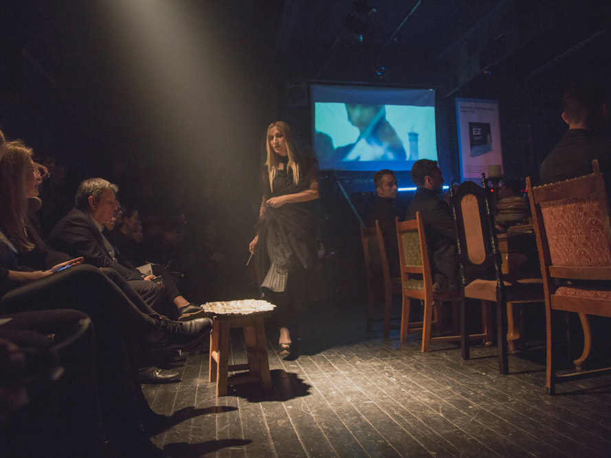 Alexandra Kollaros as Mary Magdalene at Plan B holy taste event