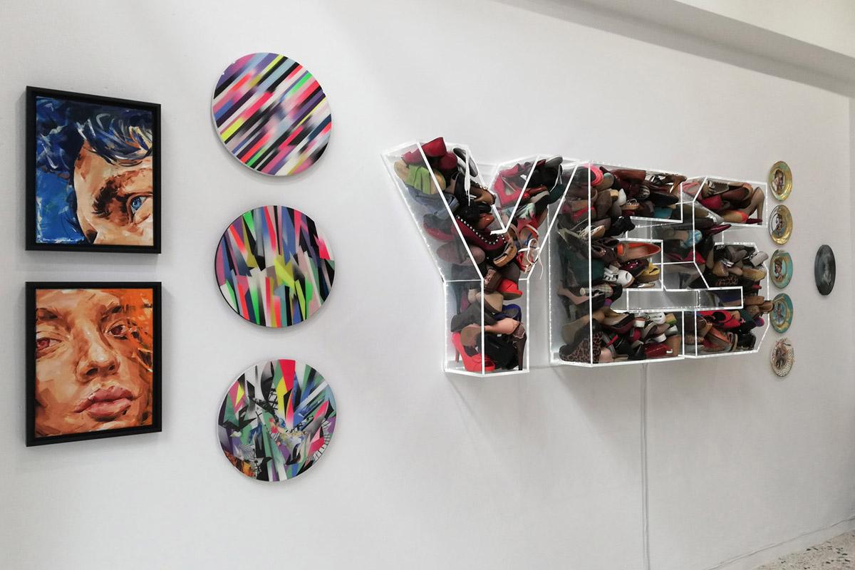Artworks than enhance that sofa's fabric exhibition view