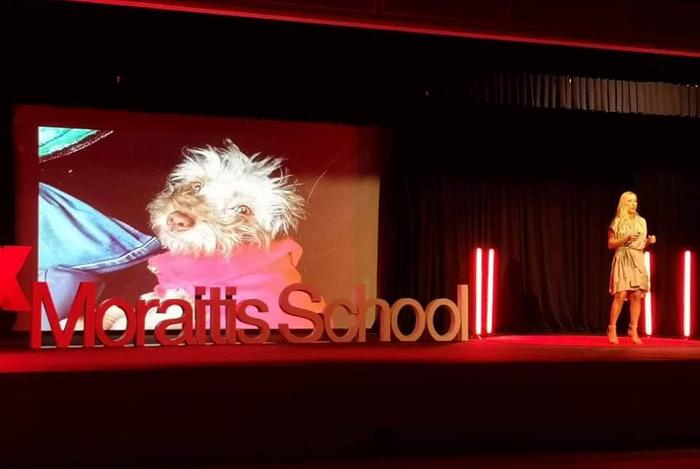 Alexandra Kollaros on stage at Tedx Moraitis School