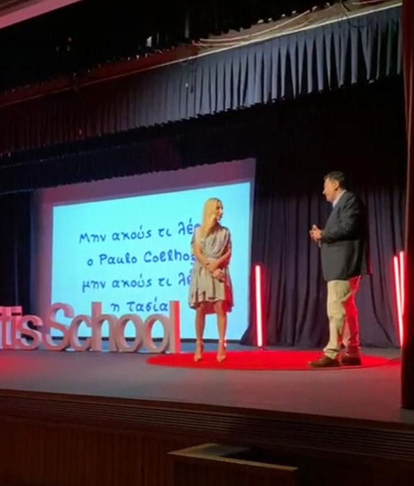 Alexandra Kollaros and Alexis Papachelas at Tedx Moraitis School