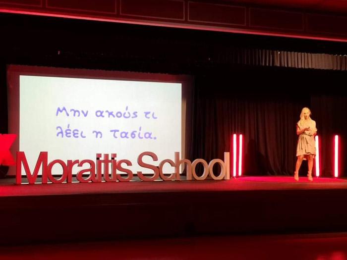 Alexandra Kollaros delivering her Tedx Moraitis School talk